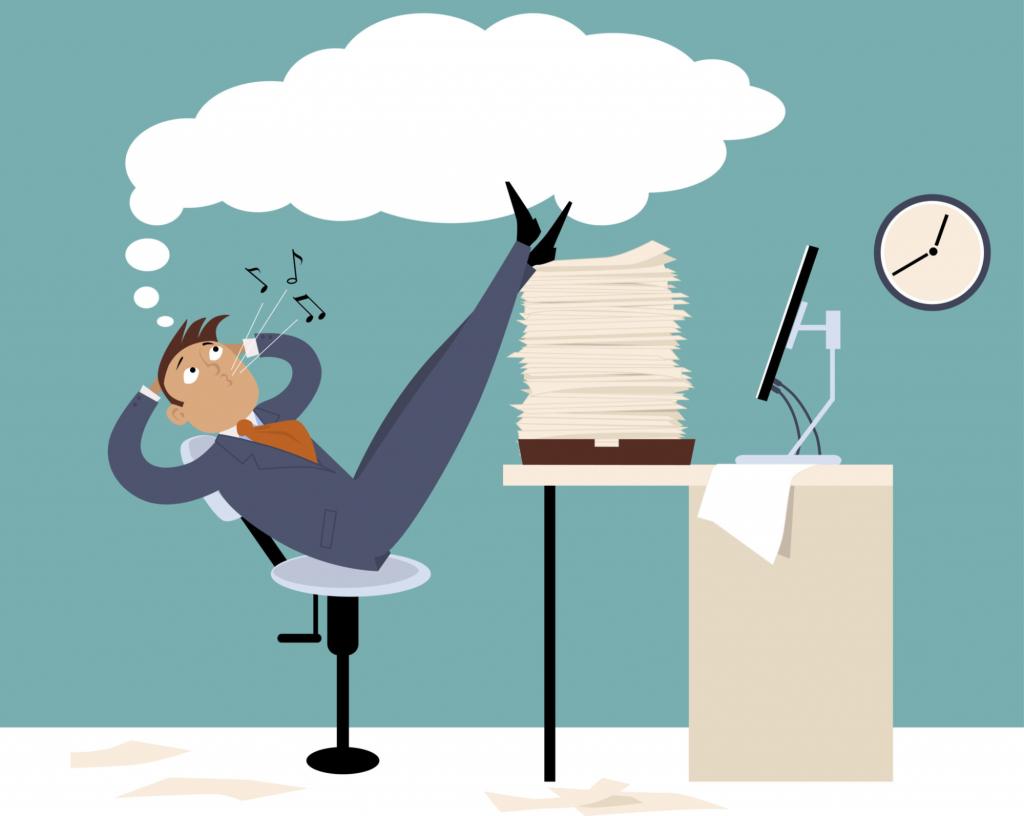 A man postpones his tasks and wastes his time